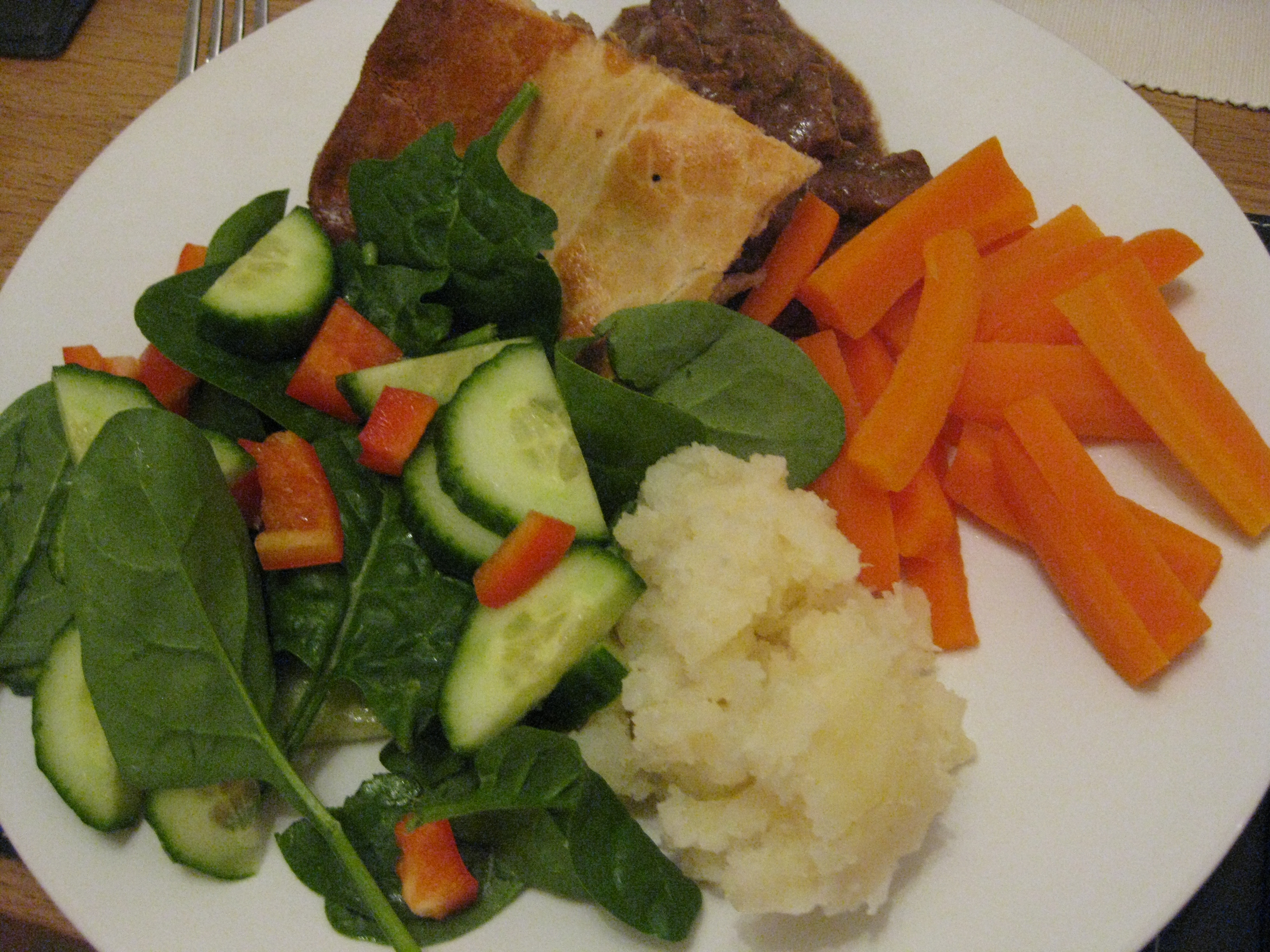 Steak pie and veggies. Yes, I need veggies!