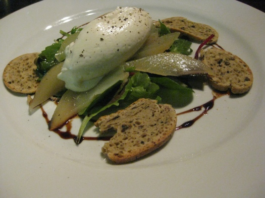 Goat cheese and yogurt mousse with greens, pears, and baguette type bread
