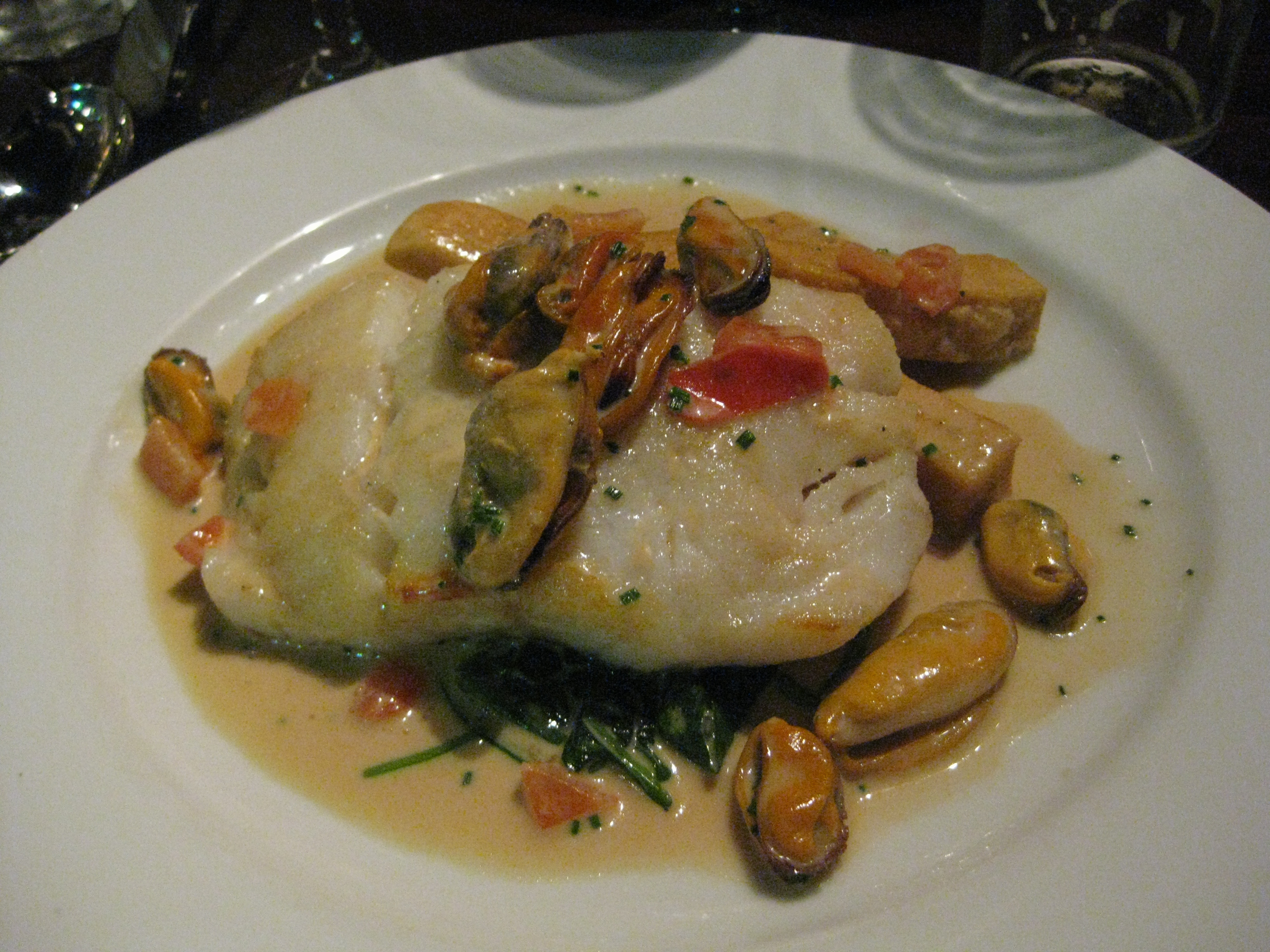 Cod with mussels and steams vegetables of some sort - my main. It was fab!