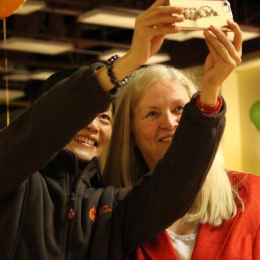 Arlene Kroeker with volunteer